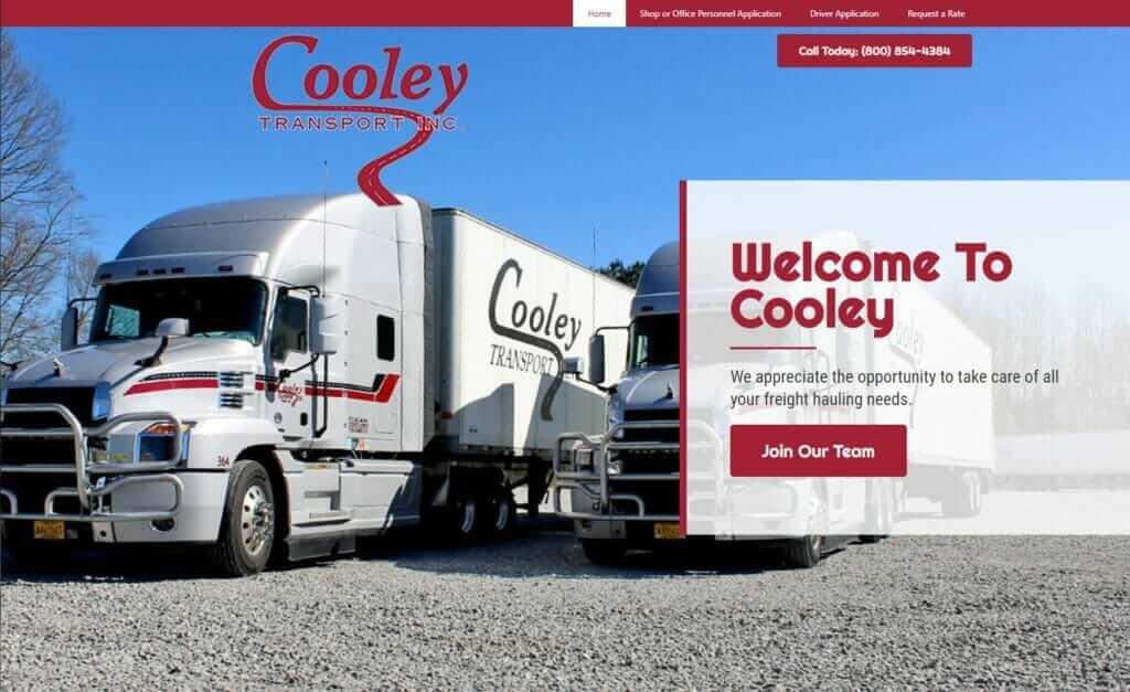 trucking website design, tupelo, ms - Cooley Transport Inc.