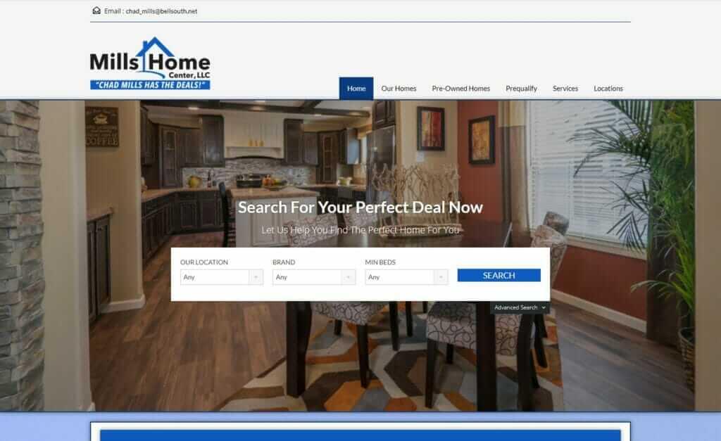 real estate website design, Mills Home Center, Tupelo, MS