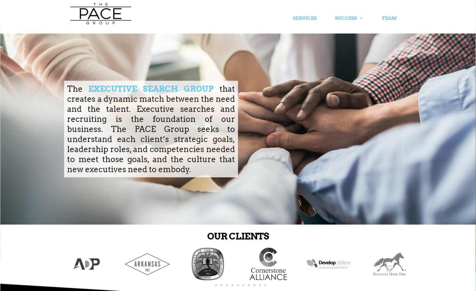 Executive head hunter website design, Dallas, Texas - the PACE Group