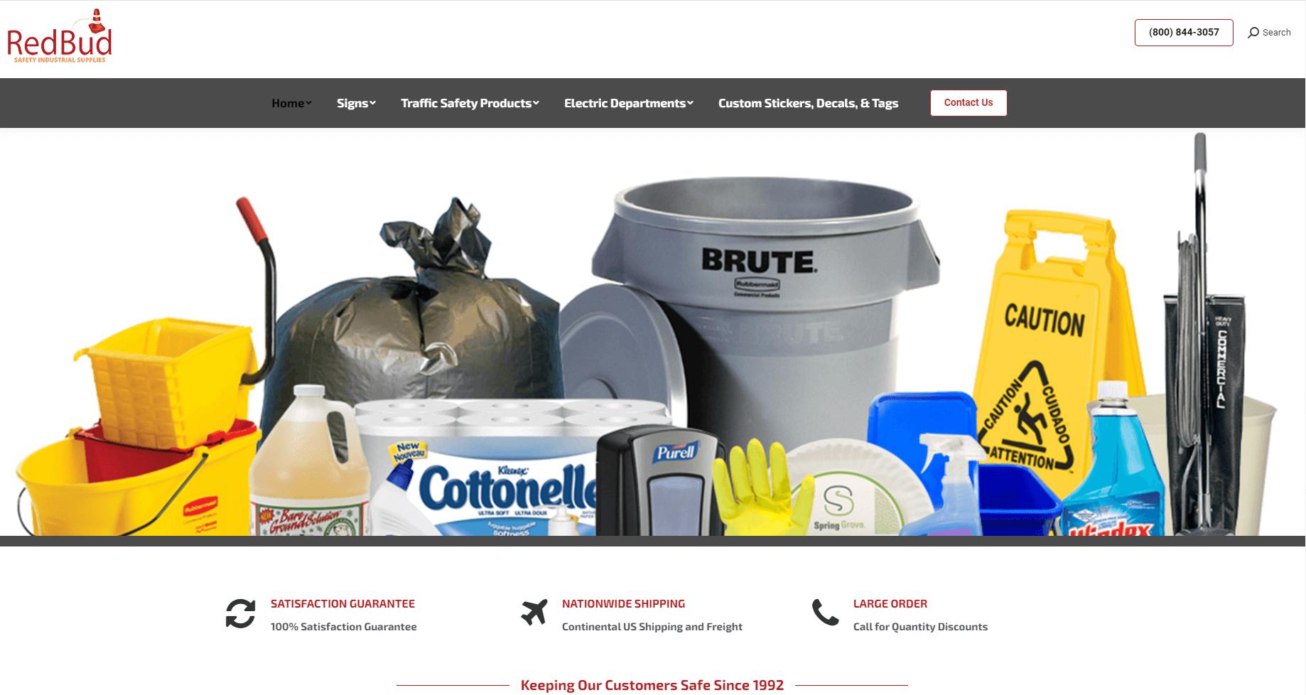 Industrial Supplies website design - RedBud Safety, Belmont, MS