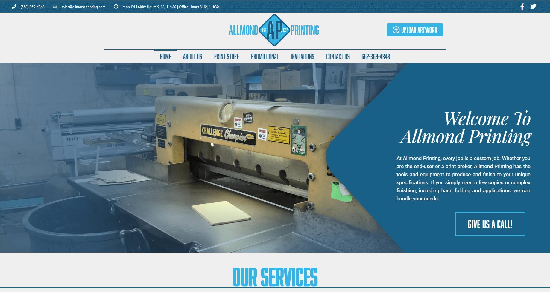 print shop website - allmond printing, aberdeen, ms