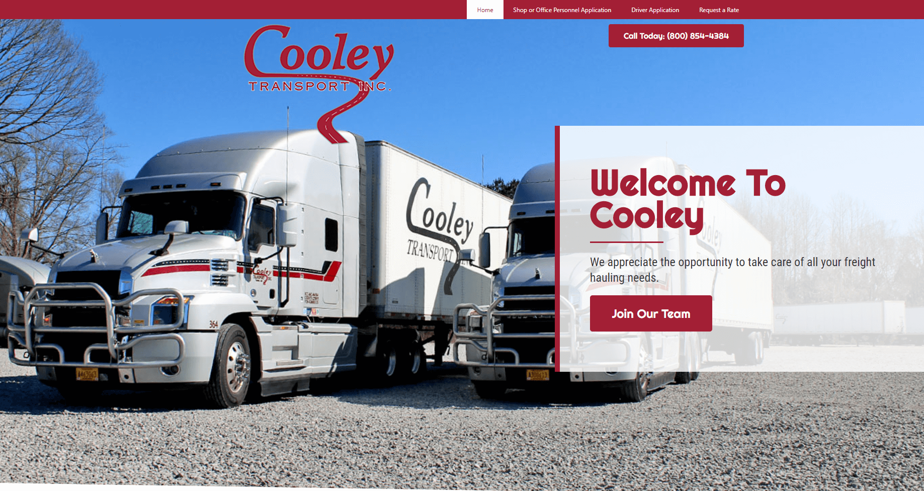 trucking company website - cooley transport, tupelo, ms