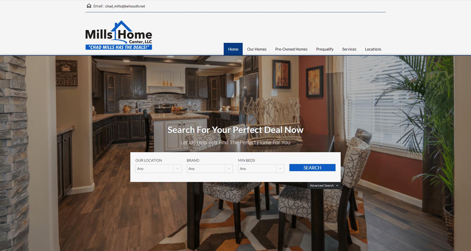 real estate website design - Mills Home Center