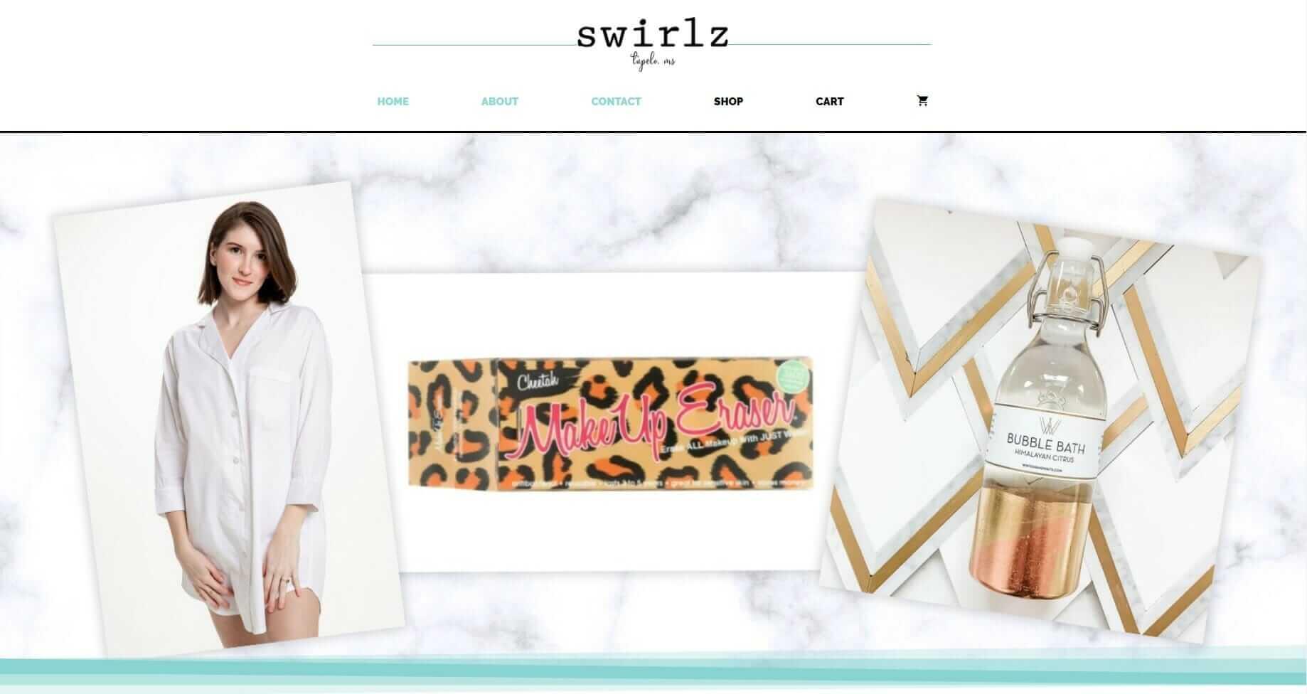 Website design for boutique - Swirlz, Tupelo