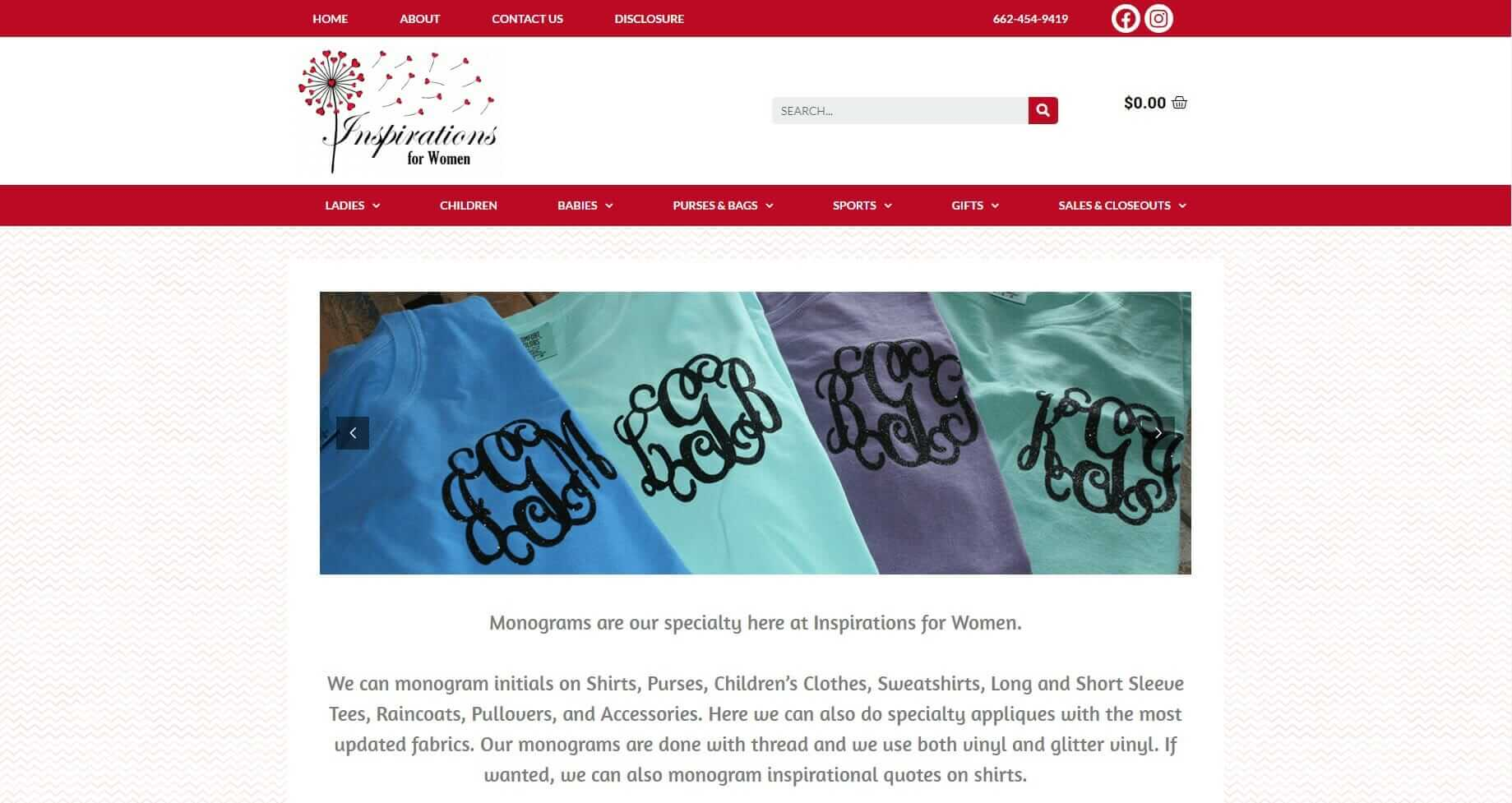ecommerce website for monogramming company - Inspirations for Women.